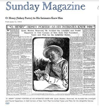 Биография О Генри. О смерти О. Генри в газете.